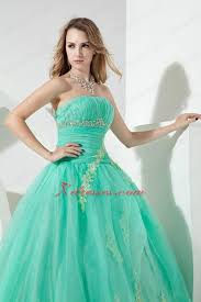 turquoise ball gown strapless floor length organza beading and