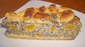 mohn streusel mit pudding und mandarinen