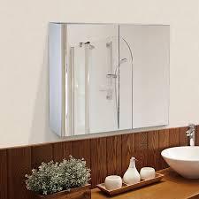 homcom badspiegelschrank zur wandmontage weiß 15 x 80 x 60 cm lxbxh badspiegel spiegel schrank badezimmerspiegel