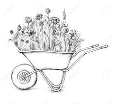 Illustration of a flower meadow in a wheelbarrow Stock Illustration