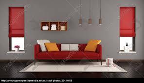 stock bild 23414666 graues und rotes modernes wohnzimmer