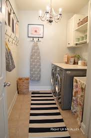Striped Rug Chandelier Small Laundry Room