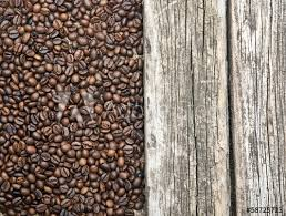 Coffee Beans Border Old Wood Background