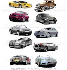 Clipart Of A Digital Collage Coupes Vintage And Sports Cars On White