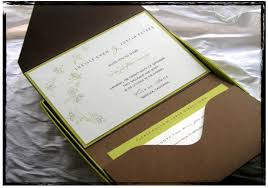 Pocket Wedding Invitations Rectangle Brown Green Contemporary Hard Cover With Soft Blue Floral Pattern Letter Area Invites