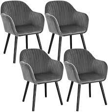 woltu 4er set esszimmerstühle küchenstuhl wohnzimmerstuhl polsterstuhl design stuhl mit armlehne samt massivholz schwarze beine dunkelgrau bh259dgr 4