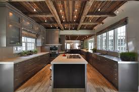 rustic ceiling kitchen contemporary with white countertop cable
