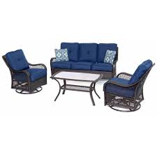 Home Depot Deep Patio Cushions by Hanover Orleans Brown 4 Piece All Weather Wicker Patio Deep