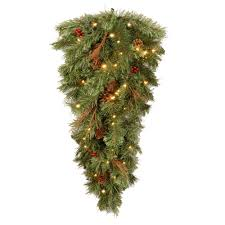 Ge Pre Lit Christmas Tree Customer Service by National Tree Company Glistening 36 In Pine Teardrop With Battery
