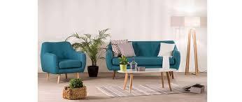 pied de canap design canapé design 3 places tissu bleu canard pieds noyer olaf miliboo