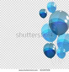 Bunche and Group of Blue Glossy Helium Balloons Isolated on Transparent Background Vector Illustration EPS10
