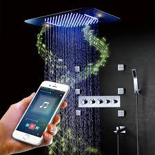 bluetooth musik led dusche systeme wasserhahn regen dusche set wasserfall bad wasserhahn thermostat verborgen mischer dusche kopf chrome