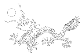 China Qing Dynasty Flag Black White Line Art Chinese New Year Coloring