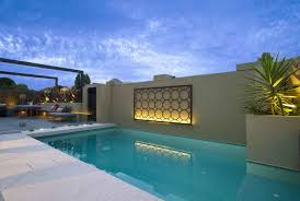 Overlooks Reflecting Outside Outdoor Wall Decor Pool The Room A Small Terrace With Beautiful