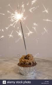 Birthday Cupcake with Sparkler Stock Image