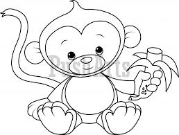Coloring Page Cute Baby Monkey Pages Monkeys