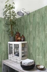 badezimmer tapete blätter emeraldgrün 138987
