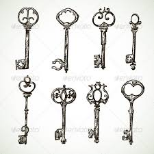 Set Of Vintage Key Drawings