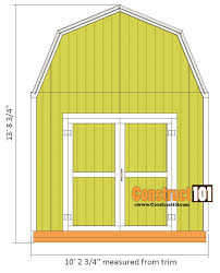 8 X 10 Gambrel Shed Plans by 10x10 Shed Plans Gambrel Shed Construct101