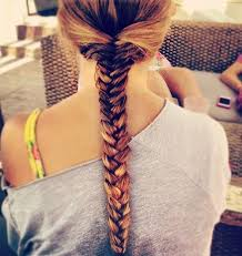 Back View Of Ombre Fishtail Braid
