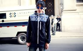 2014 Autumn Winter Season Match Fashion Men Coat Plzex Zipper Pocket Geometric Printed Street Wear Japanese