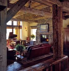 Red Leather Couch Living Room Rustic With Beams Dark Wood Floors Image By EANF
