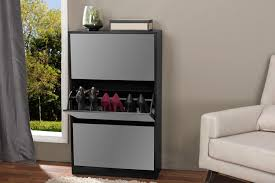Baxton Shoe Storage Cabinet by Baxton Studioalbany Black Wood Shoe Storage Cabinet With Mirror