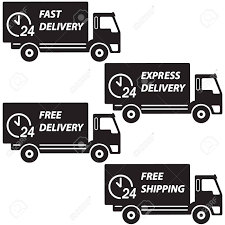 Delivery Trucks Set. Vector Icon Or Sign. Fast Delivery, Express ...