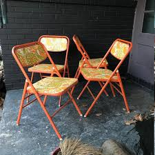 Mid-Century Flower Power Retro Folding Chairs Orange Card Table Dining  Apartment Kitchen Nook By CabinModernist From Cabin Modernist Of Takoma  Park, ...