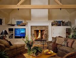 canapé cuir et bois rustique salle de séjour déco salon rustique poutres bois canapé cuir marron