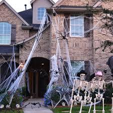 TOYMYTOY Halloween Spider Webs 1000 Sqft Halloween Cobwebs Haunted House Web Spider Webbing Decoration Indoor Outdoor Night Light Decoration