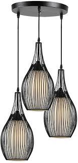 carys hängeleuchte vintage pendelleuchte e27 leuchtmittel hängele industrielle runde schwarz 3 flammig retro metall wohnzimmer schlafzimmer