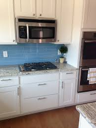 Mosaic Tile Company Merrifield by White Kitchen Cabinets With Blue Glass Backsplash Awesome Sky