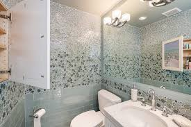 seattle glass tile powder room transitional with chrome