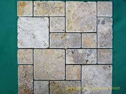 scabos mini versailles pattern tumbled travertine mosaic