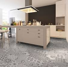 eclectic patterned kitchen floor tile design in a modern kitchen