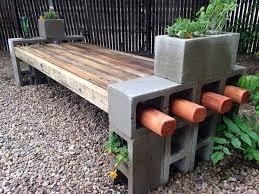 easy diy garden furniture ideas cinder blocks wood slats patio