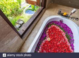 verschiedene blumen in badewanne die form eines herzens mit