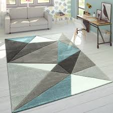 teppich 3d dreiecke pastell trend grau türkis