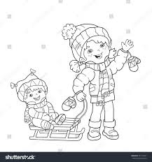 Coloring Page Outline Of Cartoon Girl With Brother Sledding Winter Book For Kids