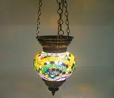 orange mosaic hanging l glass candle holder electric l http