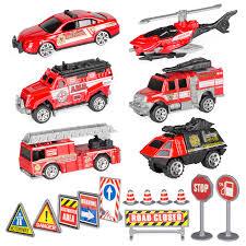 100 Metal Fire Truck Toy Amazoncom Bocks Rescue Car 18pcs 164 Alloy Diecast Vehicle