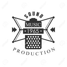 Music Record Studio Black And White Logo Template With Sound Recording Retro Mic Silhouette Musical