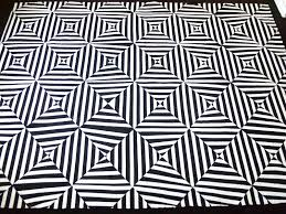 Diwhy Not Black White Extreme Stripes Painted Rug