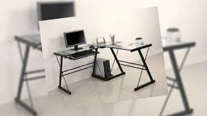 L Shaped Computer Desk by Walker Edison Soreno L Shaped Computer Desk Glass Youtube