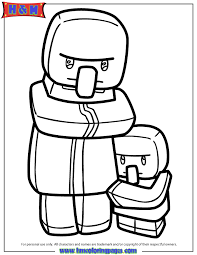 Minecraft Villager And Kid Coloring Page
