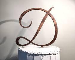 Wooden Wedding Cake Topper Letter D Monogram Rustic