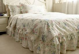 Rustic Rural Vintage Blue Rose Ruffle Cotton Bedding Sets Luxury Full Size Duvet Cover Set Queen King Bedclothes In From Home