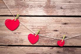 Valentines Hearts On Rustic Wooden Background Stock Photo