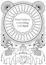 Adult Coloring Page Zen Quotes Dont Believe Everything You Think 2